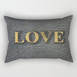 LOVE black leather gold letters Rectangular Pillow