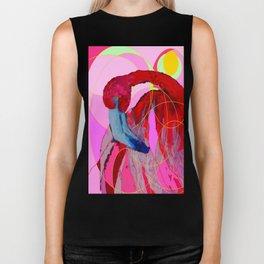 Contemporary Abstracted Tropical Flamingo Art Biker Tank