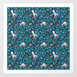 Octopus Nautical Marine Pattern Art Print