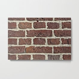 Brick wall gap between bricks are filled with sand and cement Metal Print