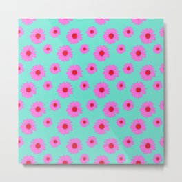 Pink and Mint Echinacea Floral Print Metal Print