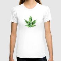 cannabis T-shirts featuring Cannabis Leaf by Teo Sharkson