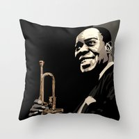 louis armstrong Throw Pillows featuring Louis Armstrong by f_e_l_i_x_x