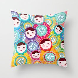 Russian dolls matryoshka, pink blue green colors colorful bright pattern Throw Pillow