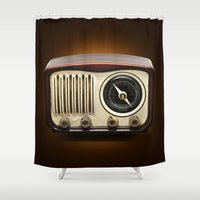 radio Shower Curtains featuring Vintage Radio by somatuscani