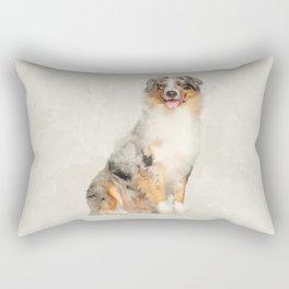 Australian Shepherd - Blue Merle Watercolor Digital Art Rectangular Pillow