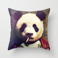 tyler durden Throw Pillows featuring Panda Durden by rubbishmonkey