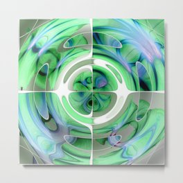 Cerulean Blue and Jade Abstract Collage Metal Print
