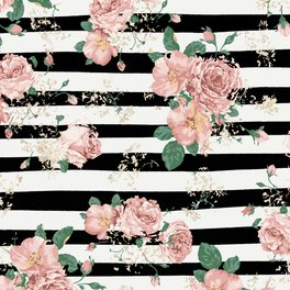 Floor Pillow - VINTAGE FLORAL ROSES BLACK AND WHITE STRIPES - xiari