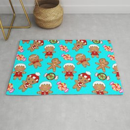 Cute seamless pattern. Happy festive gingerbread men and sweet xmas caramel chocolate candy Rug