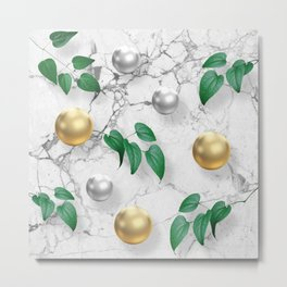 Marble, Gold spheres and Foliage Metal Print