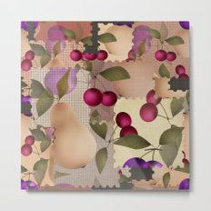 Old scraps of fabric with fruit . Metal Print