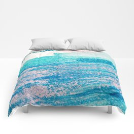 Abstract hand painted blue teal pink watercolor brushstrokes Comforters