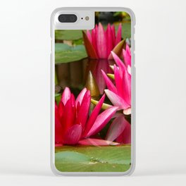 Fuchsia Pink Water Lilies & Pads Clear iPhone Case