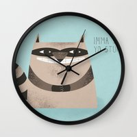 raccoon Wall Clocks featuring Sneaky Raccoon by Chase Kunz