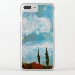 Cypress Trees encaustic wax painting by Seasons Kaz Sparks Clear iPhone Case