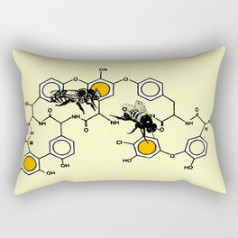 Bees making honey on macromolecular structure as a bee house  Rectangular Pillow