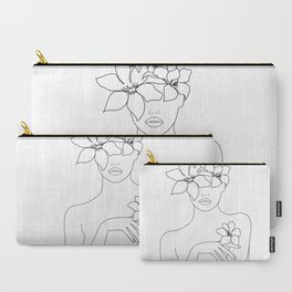 Minimal Line Art Woman with Flowers IV Carry-All Pouch
