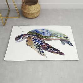 Swimming Sea Turtle Rug