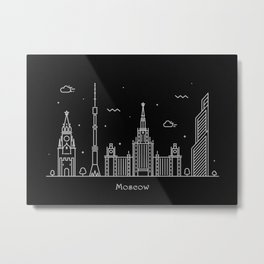 Moscow Minimal Nightscape / Skyline Drawing Metal Print