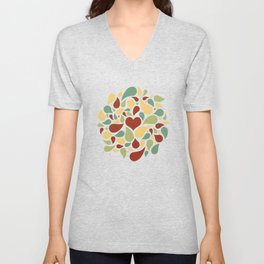 Heart surrounded by drops black pattern Unisex V-Neck