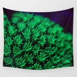 Fluorescent coral polyps reaching toward infinity Wall Tapestry