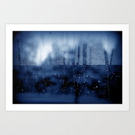blue abstract with raindrops Art Print