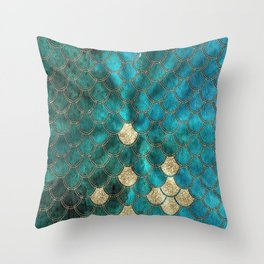 Multicolor Aqua And Gold Mermaid Scales -  Beautiful Abstract Pattern Throw Pillow