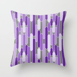 Modern Tabs in Purple and Lavender on Gray Throw Pillow