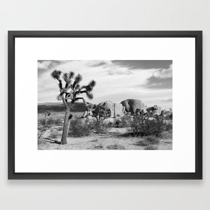 Black And White Joshua Tree National Park Framed Art Print By