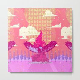 RAIN HAWK (pink) Metal Print