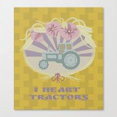 I Heart Tractors - mustard Canvas Print