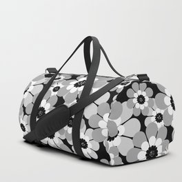 The floral pattern . black, grey , white . Duffle Bag