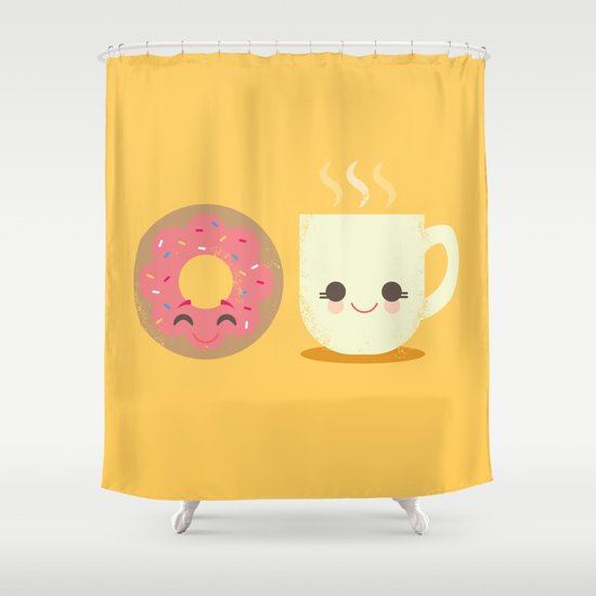 Coffee and Donut Buds Shower Curtain