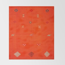 (N6) Vintage Orange Anthropologie Moroccan Artwork. Throw Blanket