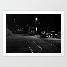 Streetcar on a Snowy Road Art Print