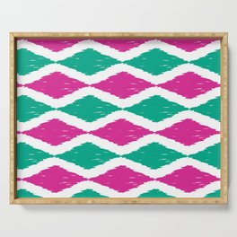 Summer Jumbo Zoom Scale Ikat Print in Magenta and Turquoise Serving Tray