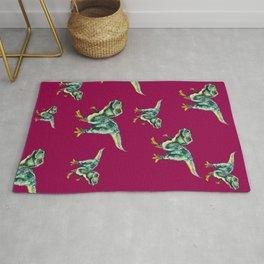 Tyrannosaurus Rex Print - Green dinosaur on pink background Rug
