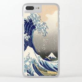 seascape painting japanese ukiyo e art the great wave off kanagawa Clear iPhone Case