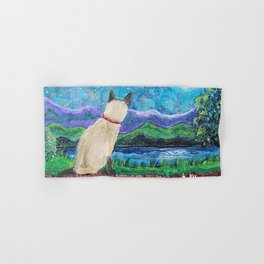 Siamese Cat in the Moonlight Painting Hand & Bath Towel