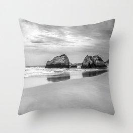 Stone beach Praia da Rocha Throw Pillow