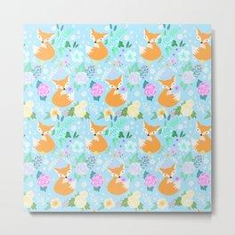 Fox floral pattern Metal Print