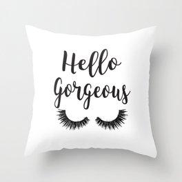 Hello Gorgeous, Lashes, Lash, eyelash, eyelashes, Black & white, Black, Watercolor Throw Pillow