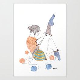 Knitster Girl Socks Art Print
