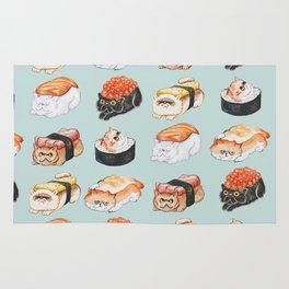 Sushi Persian Cat Watercolor Rug