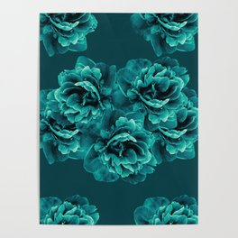 Turquoise Peony Flower Bouquet #1 #floral #decor #art #society6 Poster