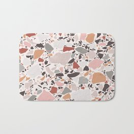 Neutral Terrazzo / Earth Tone Abstraction Bath Mat