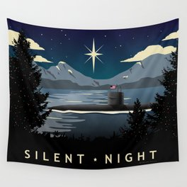 Silent Night - Submarine Christmas Wall Tapestry