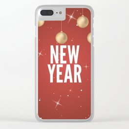Happy New Year Merry Christmas winter holidays Clear iPhone Case