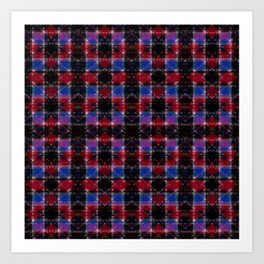 Cart Handle Semi-Plaid In Red, Pink, Blue, and Black Art Print